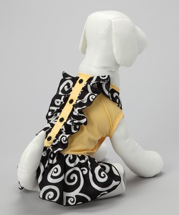 Yellow & Black Swirl Dog Dress