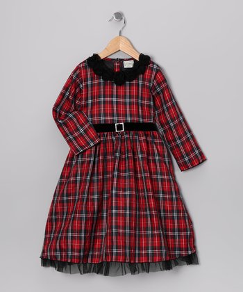 Red & Black Plaid Merry Dress - Toddler & Girls