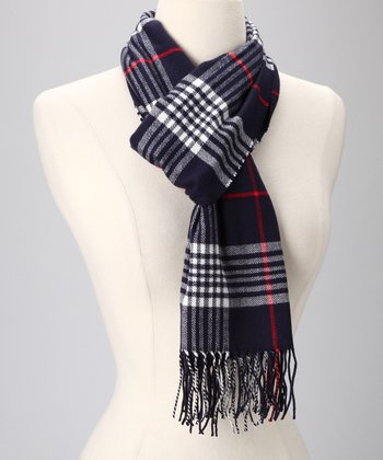 Navy Plaid Cashmere Scarf