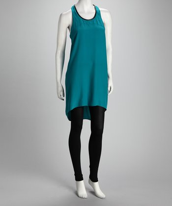 Anna Catherine Bright Teal Silk Hi-Low Racerback Dress