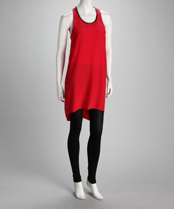 Anna Catherine Electric Red Silk Hi-Low Racerback Dress