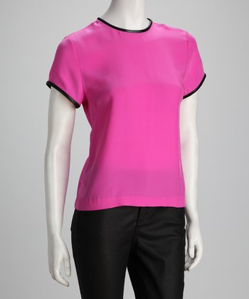 Anna Catherine Hot Pink Silk Short-Sleeve Top