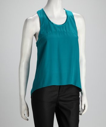 Anna Catherine Bright Teal Silk Hi-Low Tank
