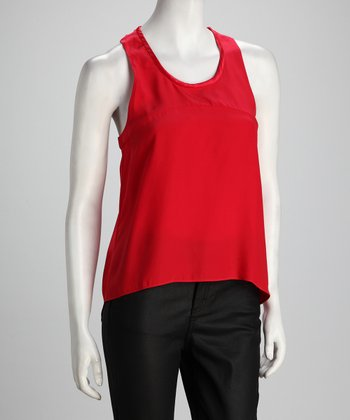 Anna Catherine Electric Red Silk Hi-Low Tank