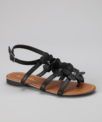 Black Flower Beach Sandal