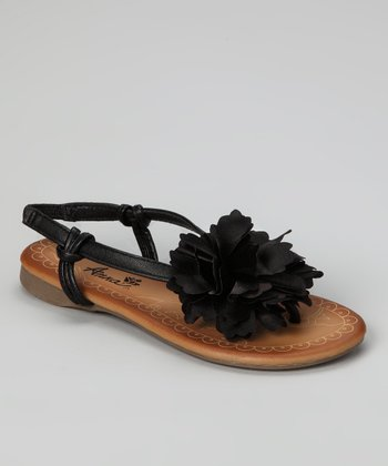 Black Blossom Beach Sandal