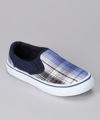 Anna Shoes Navy Plaid Slip-On Shoe