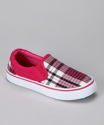 Anna Shoes Pink Plaid Slip-On Shoe