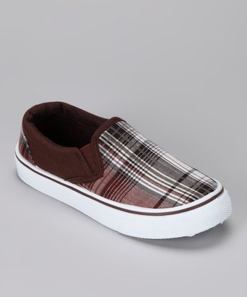 Anna Shoes Tan Plaid Slip-On Shoe