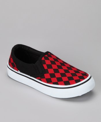 Anna Shoes Black & Red Slip-On Shoe