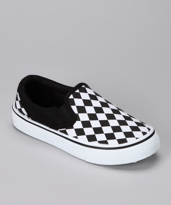 Black & White Checkerboard Slip-On Shoe