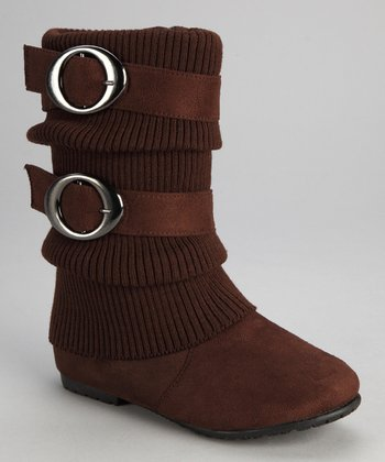 Brown Sweater-Cuff Double-Buckle Boot