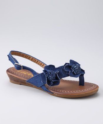 Dark Blue Flower Leo Sandal