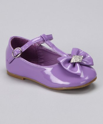 Purple Bow T-Strap Flat