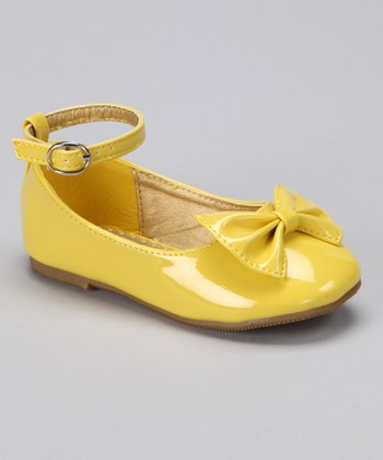Yellow Bow Ankle Strap Flat