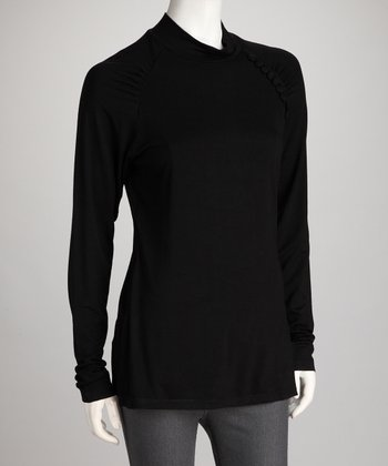 Black Raglan Maternity & Nursing Turtleneck - Plus