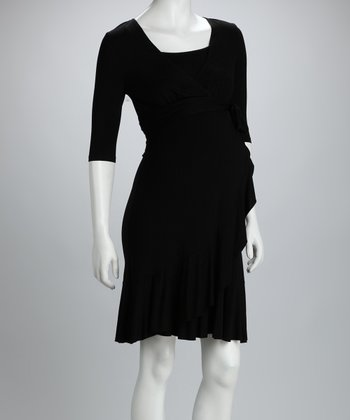 Black Evita Maternity & Nursing Dress