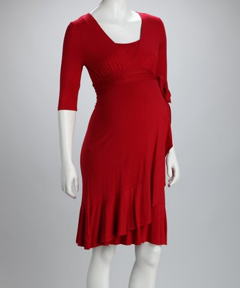 Crimson Evita Maternity & Nursing Dress