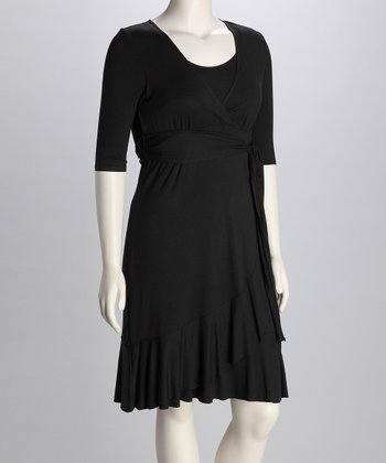 Black Evita Maternity & Nursing Dress - Women