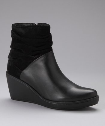Black Ruched Block Boot
