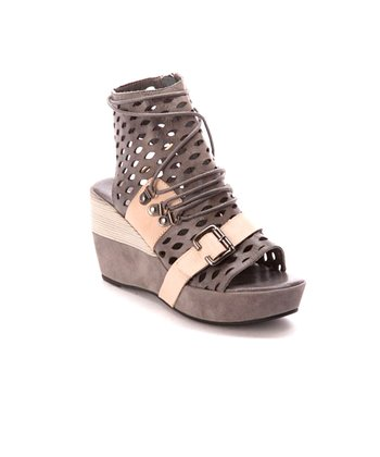 Gray Perforated Wedge Sandal