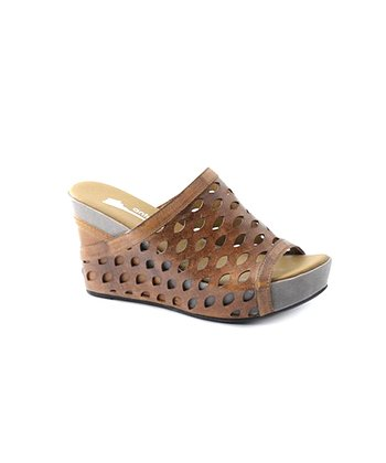Mocha Eyelet Peep-Toe Wedge Sandals