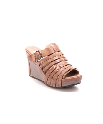 Powder Strap Open-Back Wedge Sandal