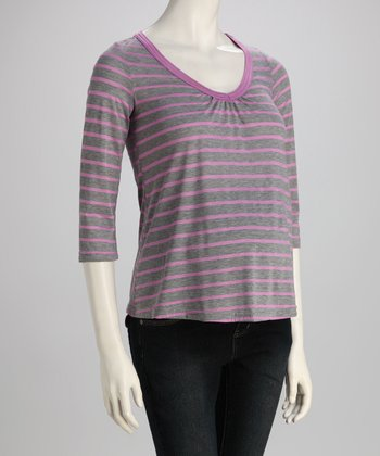 Gray & Purple Stripe Maternity V-Neck Top