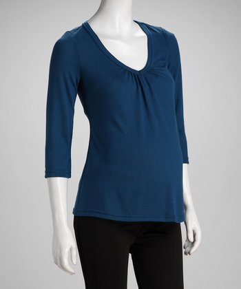 Blue Maternity V-Neck Top - Women