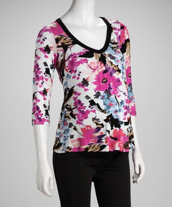 Pink Floral V-Neck Maternity Top