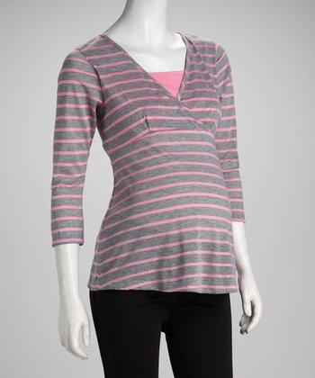 Pink & Gray Stripe Surplice Maternity & Nursing Top