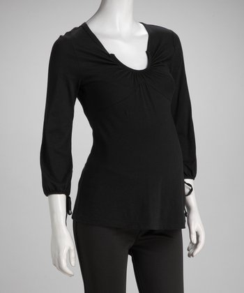 Black Maternity Scoop Neck Top - Women