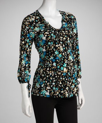 Blue Floral Scoop Neck Maternity Top - Women