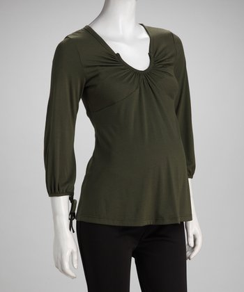 Olive Scoop Neck Maternity Top - Women