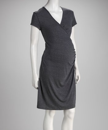 Charcoal Surplice Maternity & Nursing Dress