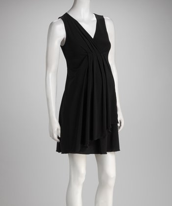 Black V-Neck Maternity & Nursing Dress