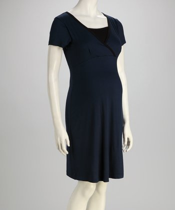 Navy Surplice Maternity & Nursing Dress
