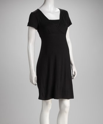 Black Surplice Maternity & Nursing Dress
