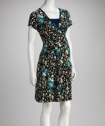 Blue Floral Surplice Maternity & Nursing Dress - Women