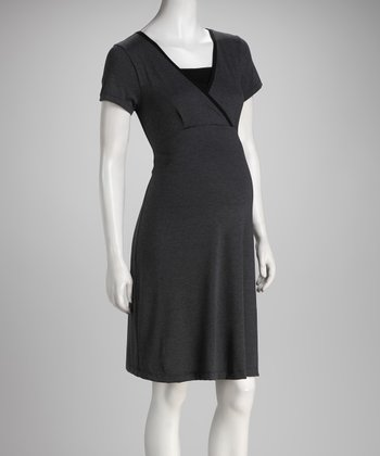 Charcoal & Black Surplice Maternity & Nursing Dress