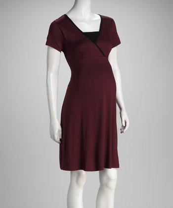 Wine & Black Surplice Maternity & Nursing Dress