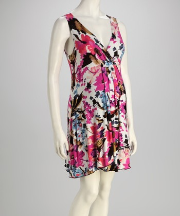 Pink Floral Maternity V-Neck Dress