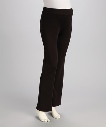 Black Ponte Over-Belly Maternity Pants