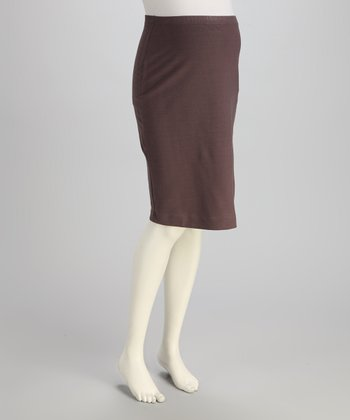 Brown Over-Belly Maternity Pencil Skirt - Women
