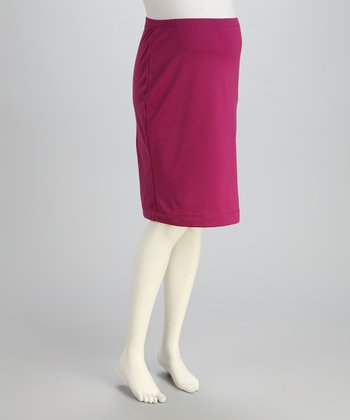 Magenta Over-Belly Maternity Pencil Skirt - Women