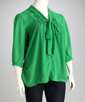 AntiliaFemme Green Tie-Front Plus-Size Top