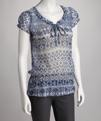 Blue Geometric Tie-Front Top