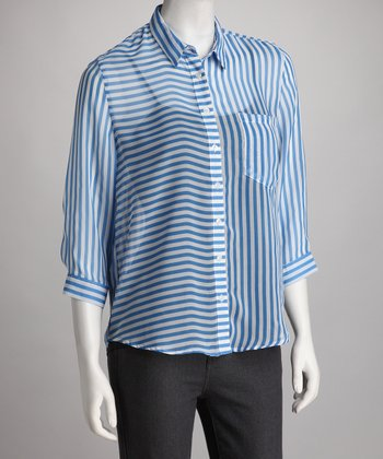 Blue Sheer Stripe Button-Up Top
