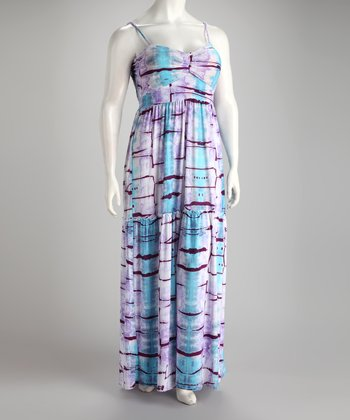 Lavender Tie-Dye Plus-Size Maxi Dress