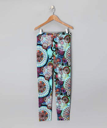Turquoise Circle	Leggings - Girls